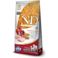 N&D Low Grain Adult Medium&Maxi Light, Pui si Rodie, 12 kg