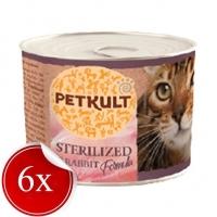 Hrana Umeda pentru Pisici Petkult Sterilised cu Iepure, 185 g x 6