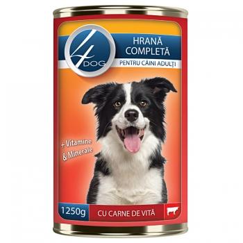 4Dog Conserva cu Carne de Vita, 1250 g