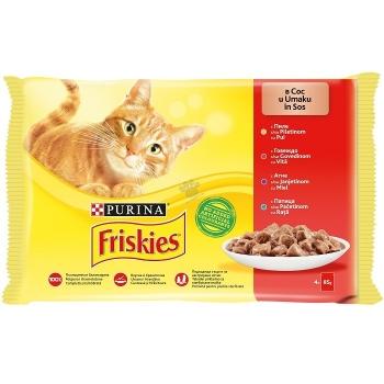 Plic Friskies Multipack Pui, Vita, Miel, Rata, 4 x 85 g