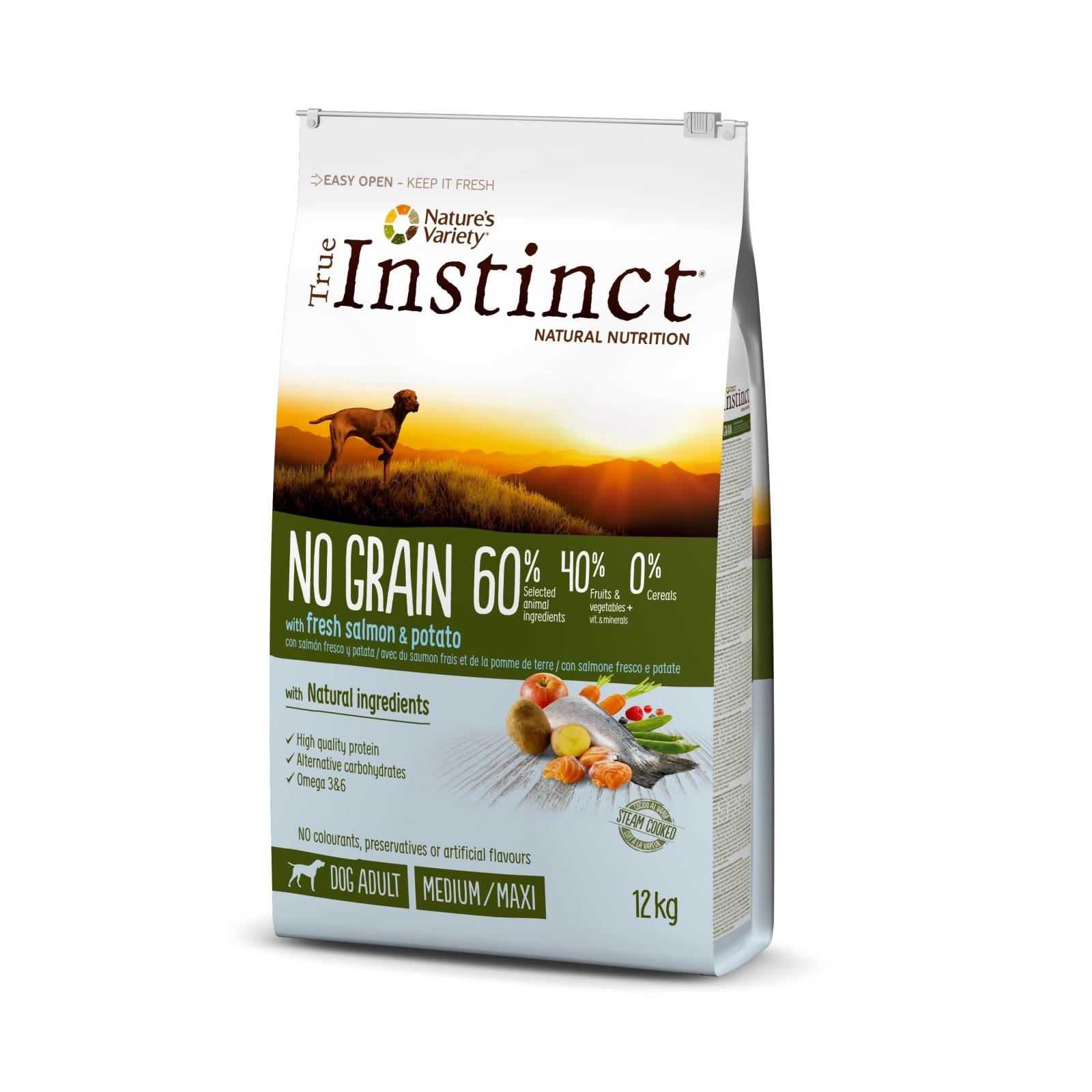 True Instinct Dog No Grain Med-Maxi Adult cu Somon, 12 kg
