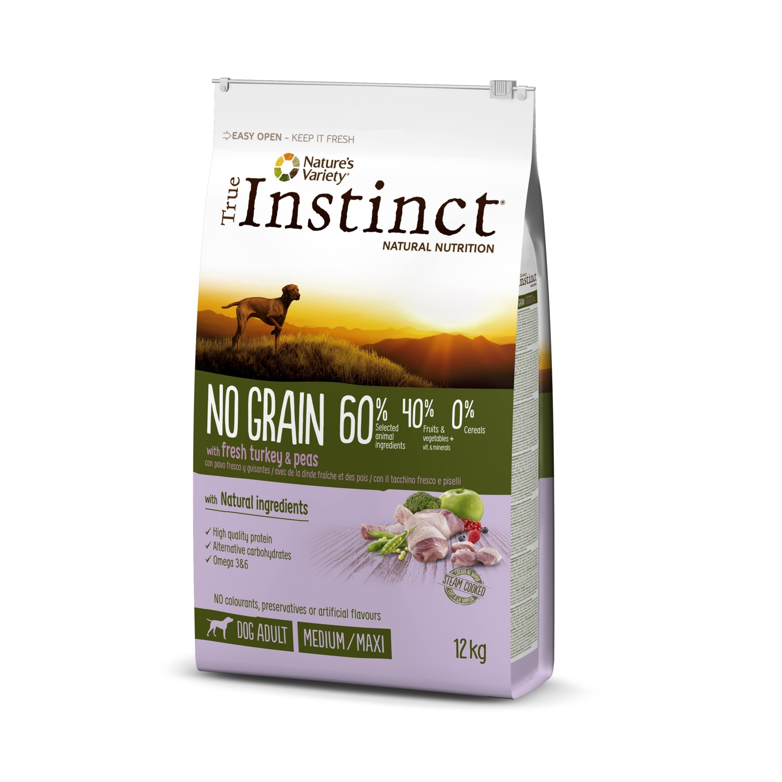 True Instinct Dog No Grain Med-Maxi Adult cu Curcan, 12 kg
