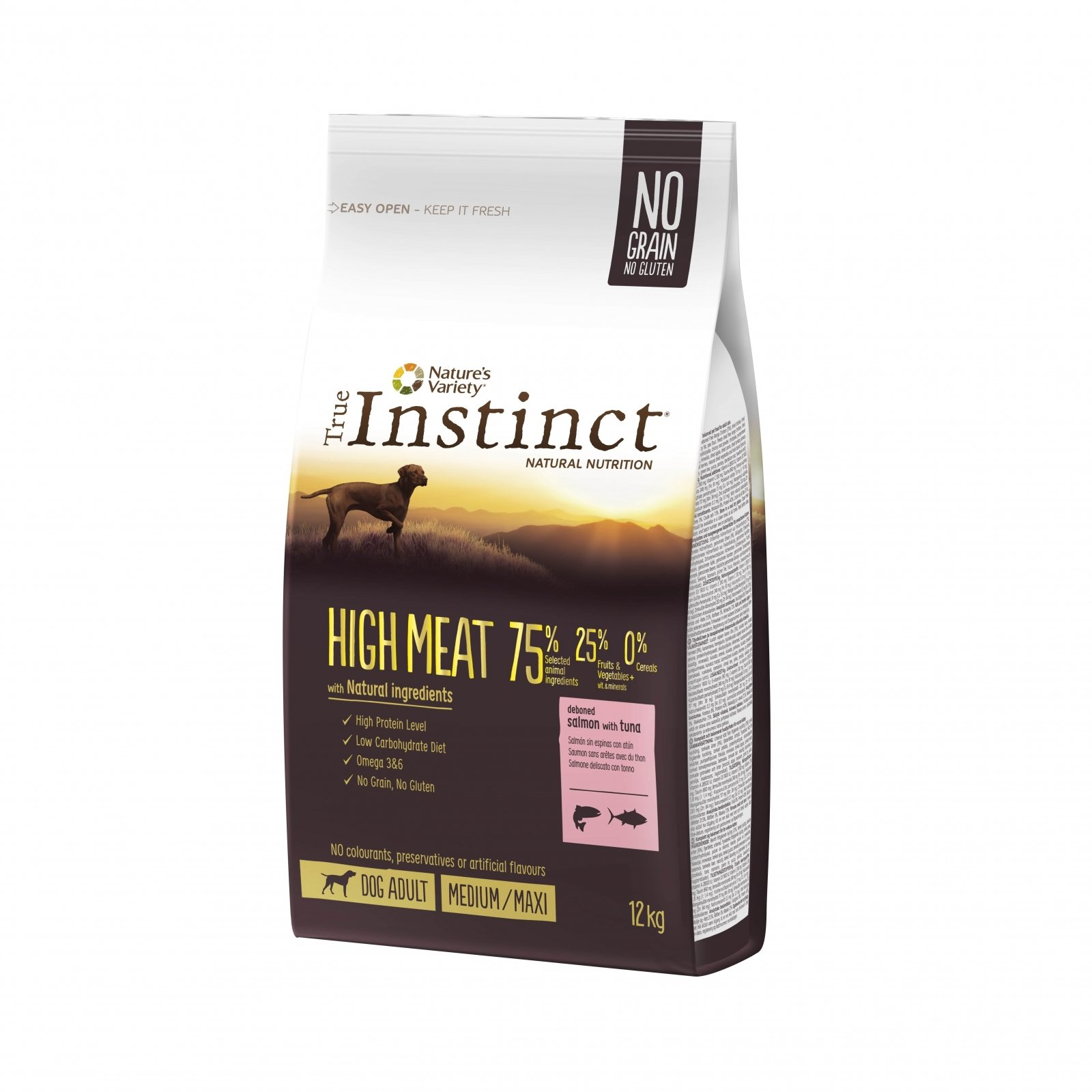 True Instinct High Meat Med-Maxi Adult cu Somon, 12 kg