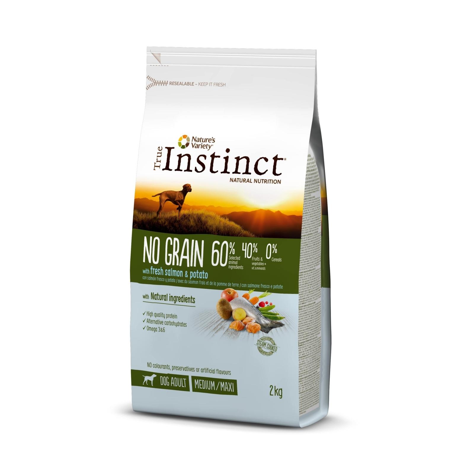 True Instinct Dog No Grain Med-Maxi Adult cu Somon, 2 kg