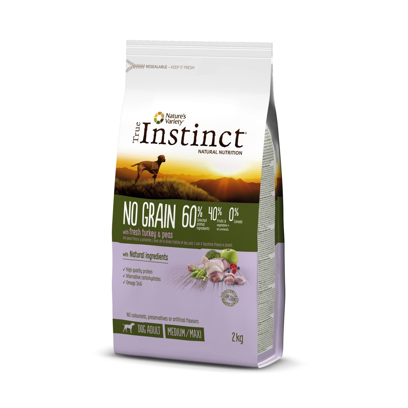 True Instinct Dog No Grain Med-Maxi Adult cu Curcan, 2 kg