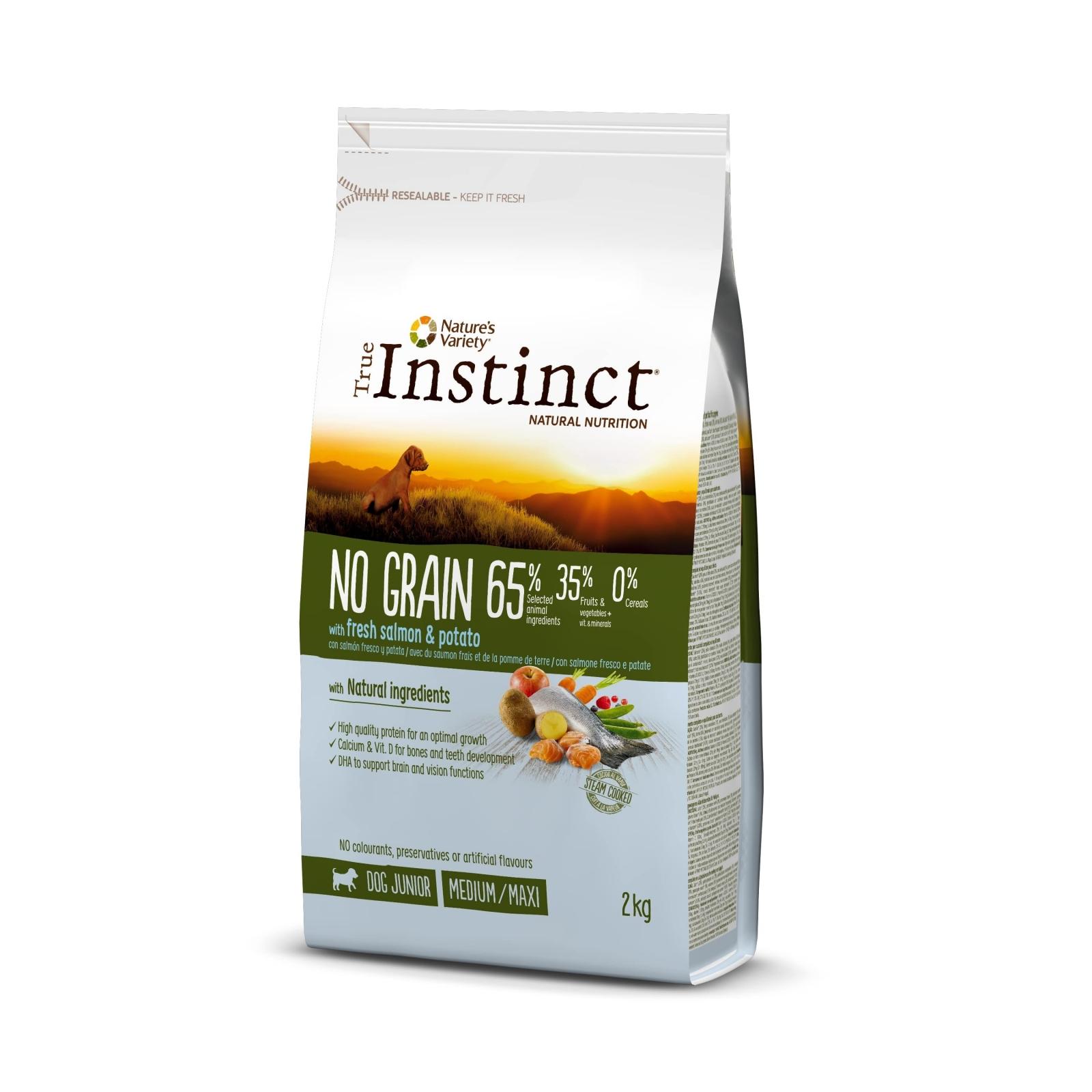 True Instinct Dog No Grain Med-Maxi Puppy cu Somon, 2 kg