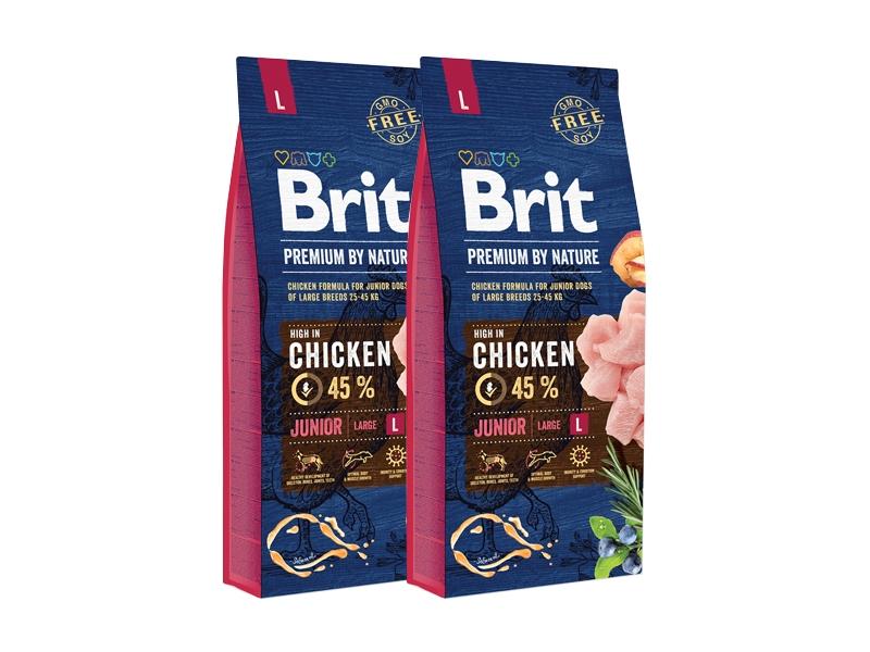 Pachet 2 x Brit Premium by Nature Junior L, 15 kg