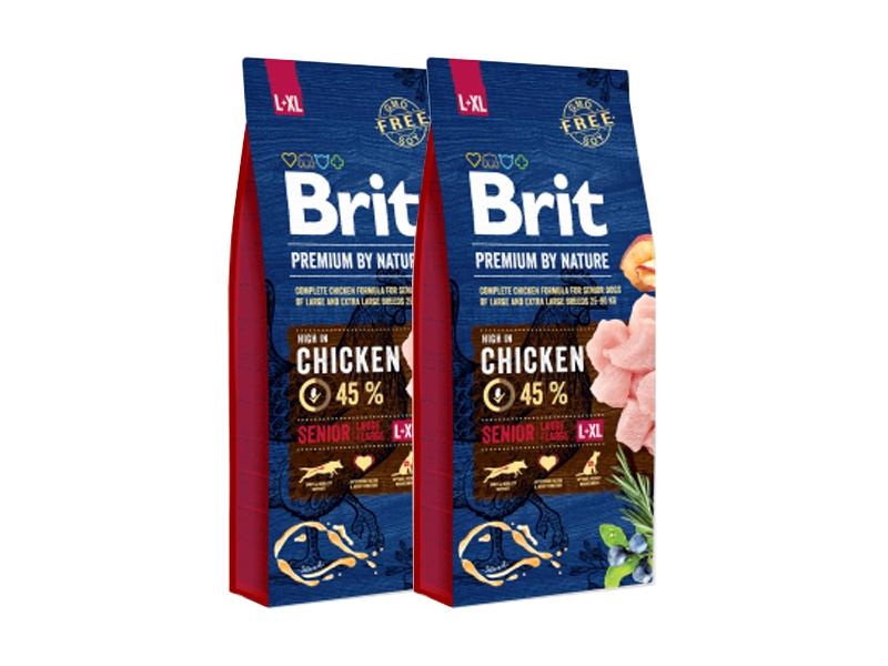 Pachet 2 x Brit Premium by Nature Senior L-XL, 15 kg