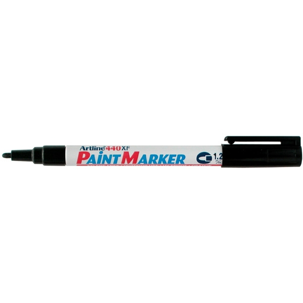 Marker cu vopsea varf rotund 1.2mm, corp metalic, ARTLINE 440XF - negru