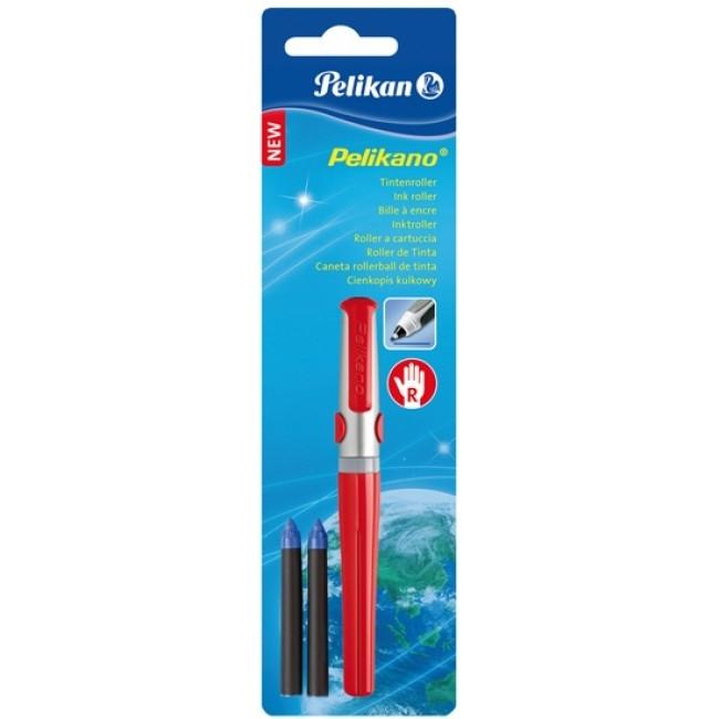 Roller Pelikano rosu, cu grip pentru dreptaci, 2 rezerve albastre, blister