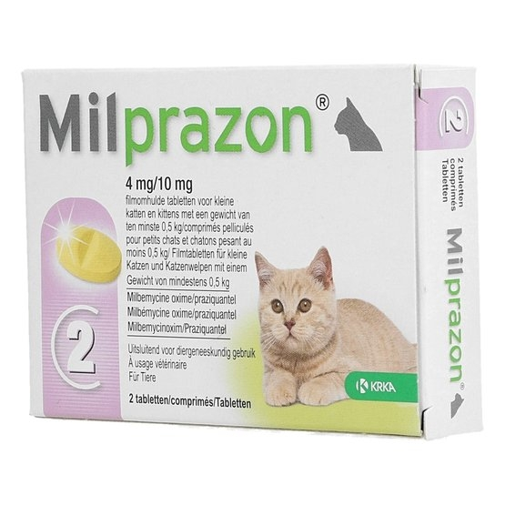 Milprazon Pisica 4 / 10 mg (< 2 kg) 2 comprimate