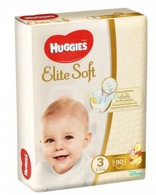 Scutece Huggies Elite Soft Mega 3, 5-9 Kg, 80 buc