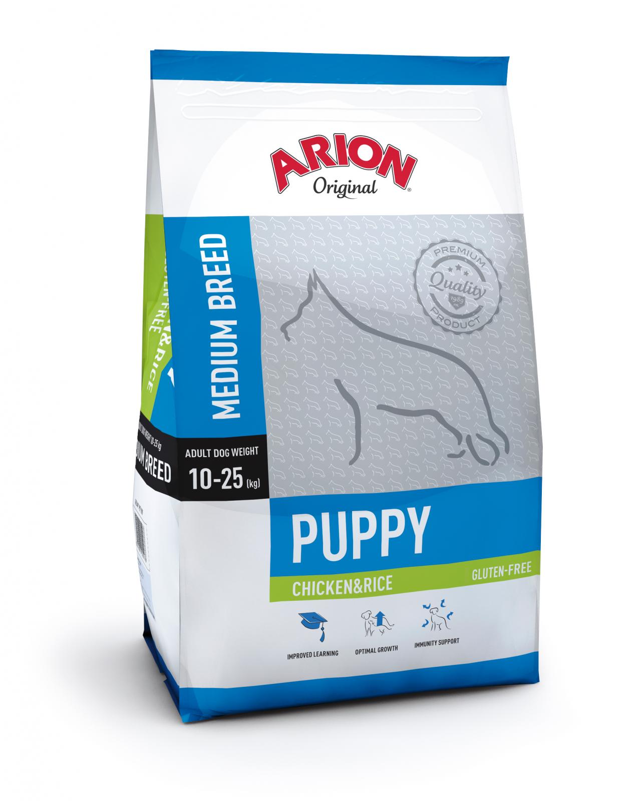 Arion Original Puppy Medium cu Pui si Orez, 12 kg