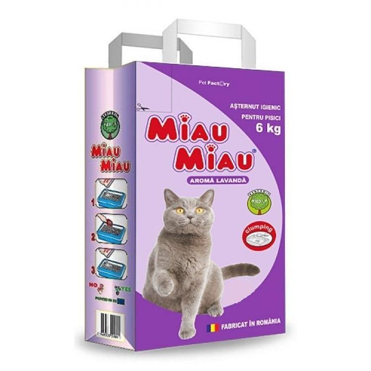 Pachet 4 Buc x Asternut igienic Miau Miau Lavanda, 6 kg