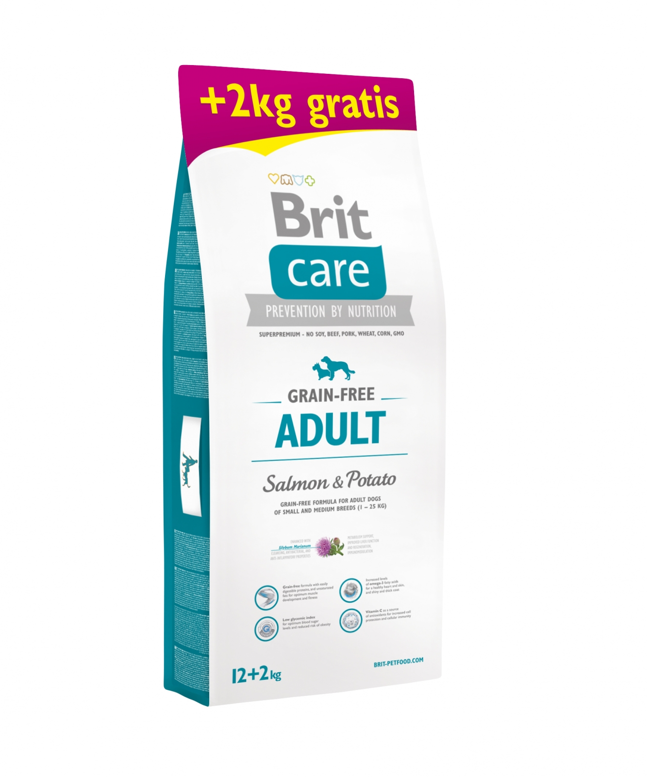 Brit Care Grain-Free Adult Somon si Cartofi, 12 kg + 2 kg Gratis