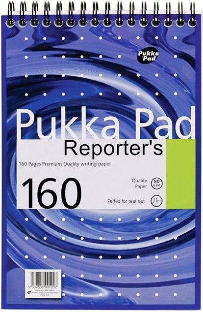 Blocnotes cu spirala 205 x 140mm, 80 file 80g/mp, coperti carton, PUKKA Metallic Reporter - dictando