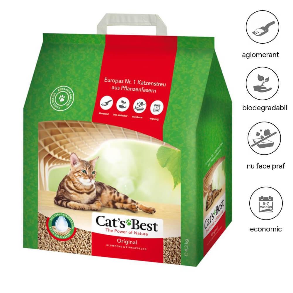 Asternut Igienic Cat's Best Okoplus 10 litri
