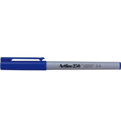 Permanent marker varf rotund, 0.4mm, corp plastic, ARTLINE 250 - albastru