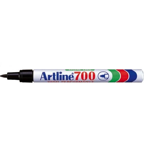 Permanent marker varf rotund, 0.7mm, corp metalic, ARTLINE 700 - negru