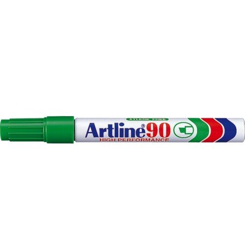 Permanent marker varf tesit, 2,0-5,0mm, corp metalic, ARTLINE 90 - verde