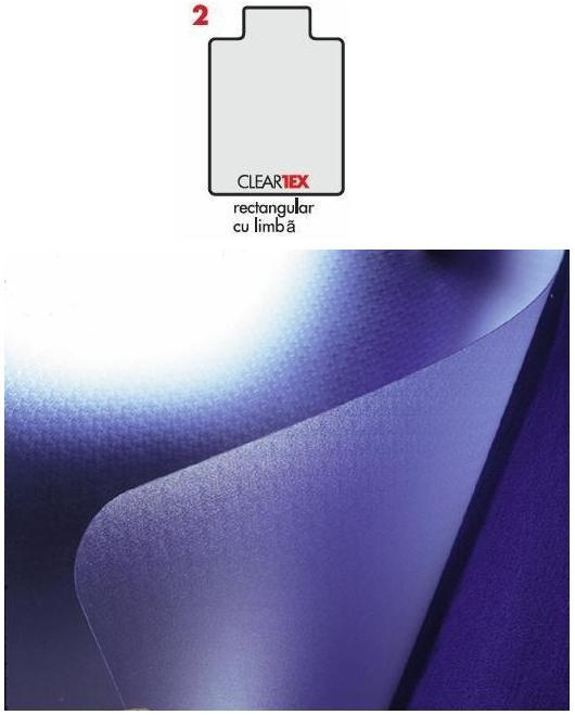 Covoras PVC transparent, pentru protectie mocheta, 121cm x  92cm - cu limba, FLOORTEX