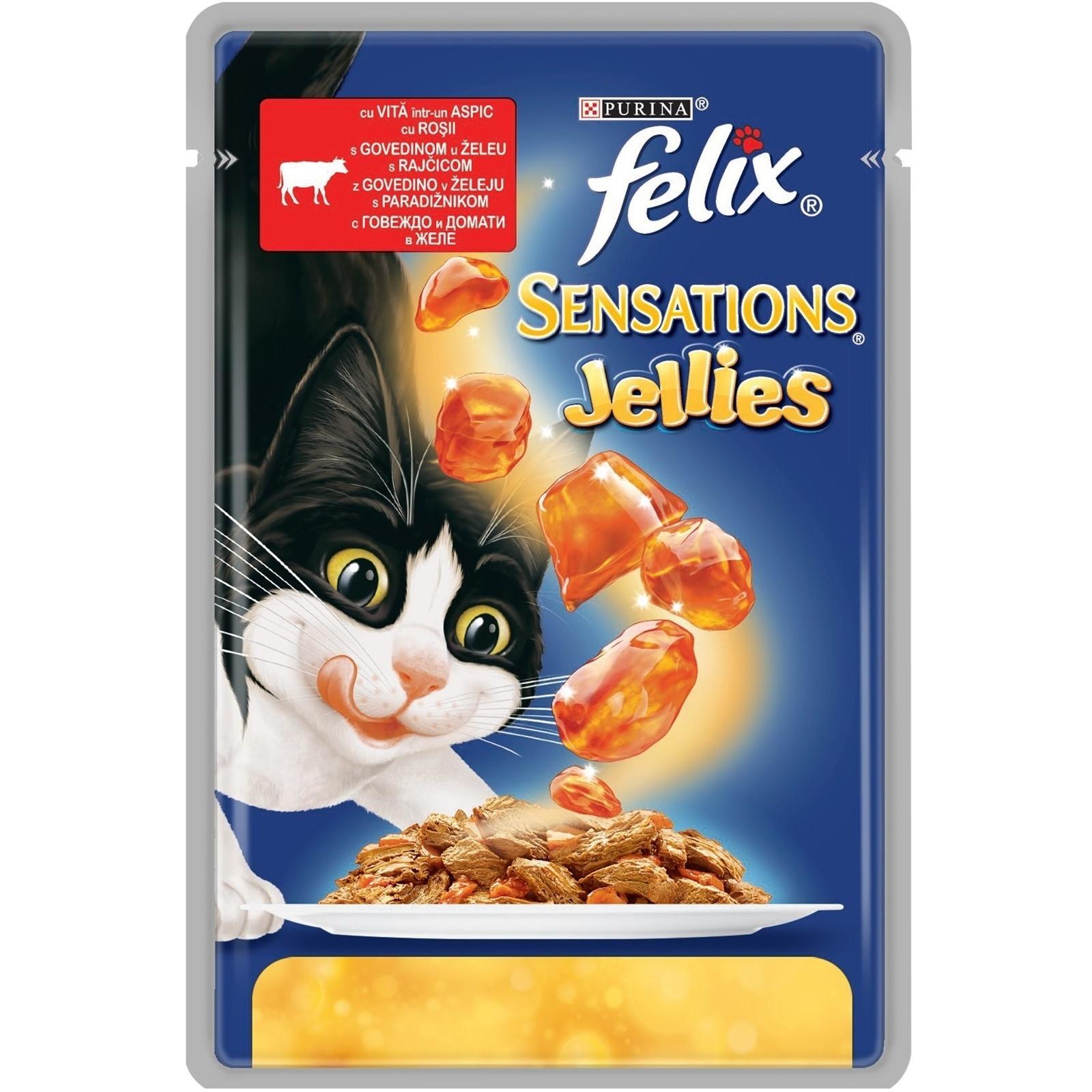 Hrana Umeda pentru Pisici, Felix Sensations Gelees Vita si Rosii in Aspic, 100 g