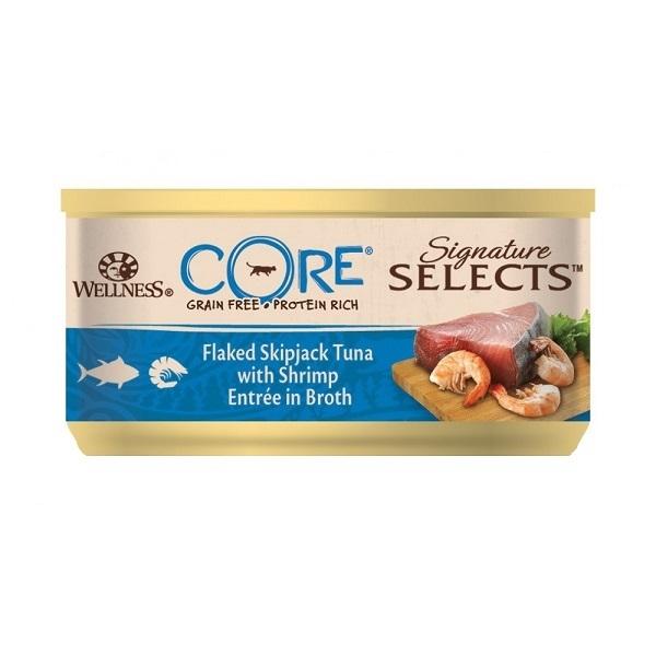 Hrana Umeda Wellness Core Signature Select cu Ton si Creveti, in Supa, 79 g