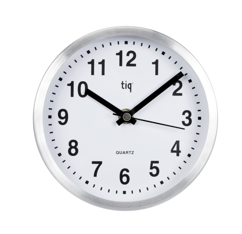 Ceas rotund de perete, D-160mm, cifre arabe, TIQ - rama aluminiu - dial alb