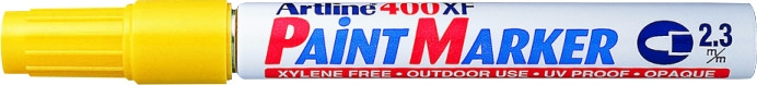 Marker cu vopsea varf rotund 2.3mm, corp metalic, ARTLINE 400XF - galben