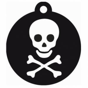 Medalion Aluminiu cu Gravare Gratuita, Rotund Negru, Model Pirat, Masura S