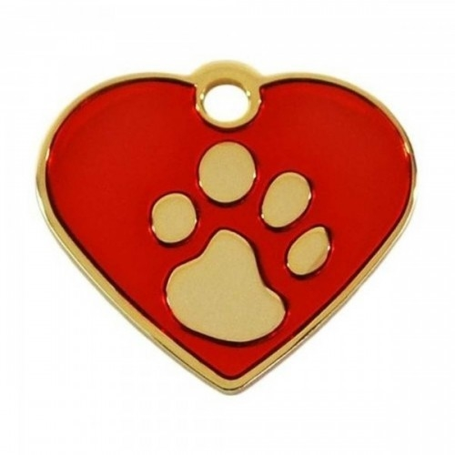 Medalion Inima cu Gravare Gratuita cu Labute S Gold/Red