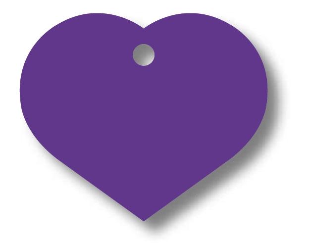 Medalion Aluminiu cu Gravare Gratuita, Inima Violet Large