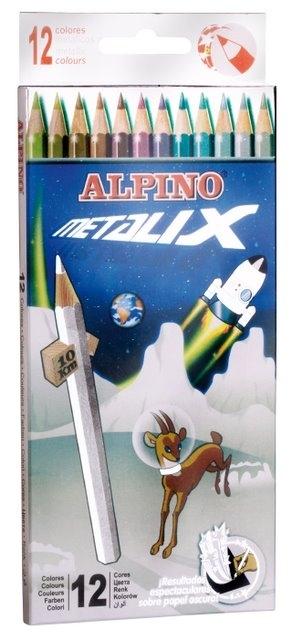 Creioane colorate metalizate, cutie carton, 12 culori/set, ALPINO Metalix