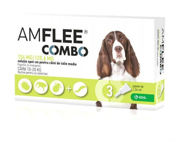 Pipete Antiparazitare Amflee Combo Caine M (10-20 kg), 3 Bucati