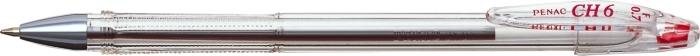 Pix PENAC CH6, transparent, 0.7mm, varf metalic - rosu