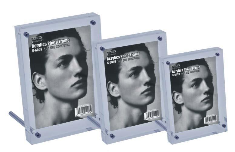 Display acrilic cu magneti, cu sprijin, pentru fotografii, (127 x 178mm)-portrait, KEJEA - transpare