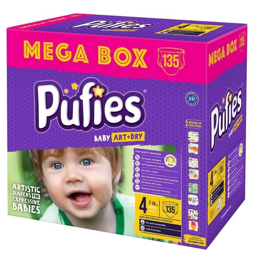 Scutece Pufies Baby Art Maxi Mega Box 4, 7-14 Kg, 135 buc