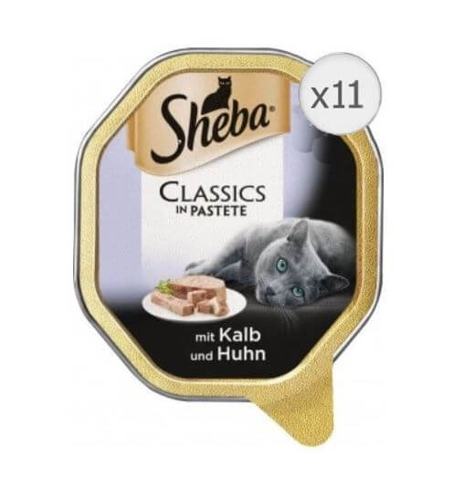 Sheba Tray Pate Vitel si Pui, 11 x 85 g
