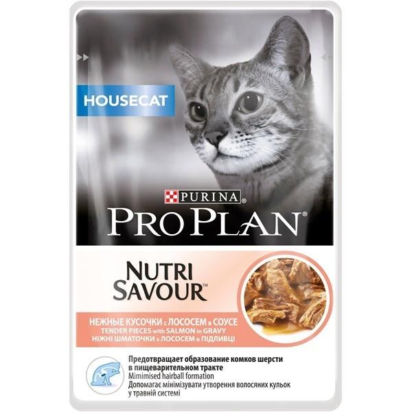 Hrana Umeda pentru Pisici, Pro Plan Housecat Nutrisavour, Somon in sos, 85 g