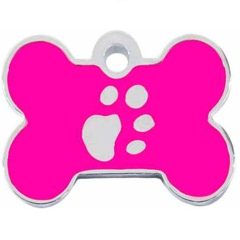 Medalion Tag cu Gravare Gratuita, Os Labute L Silver/Pink