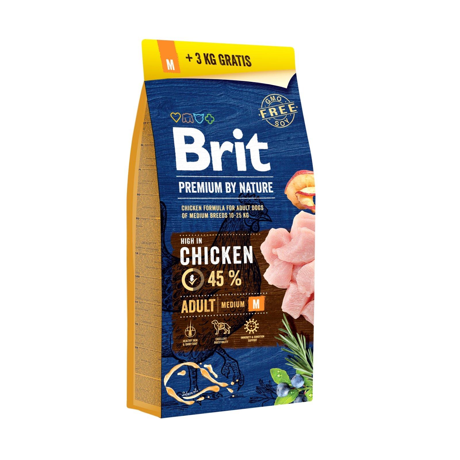 Brit Premium by Nature Adult M, 15 kg + 3 kg Gratis